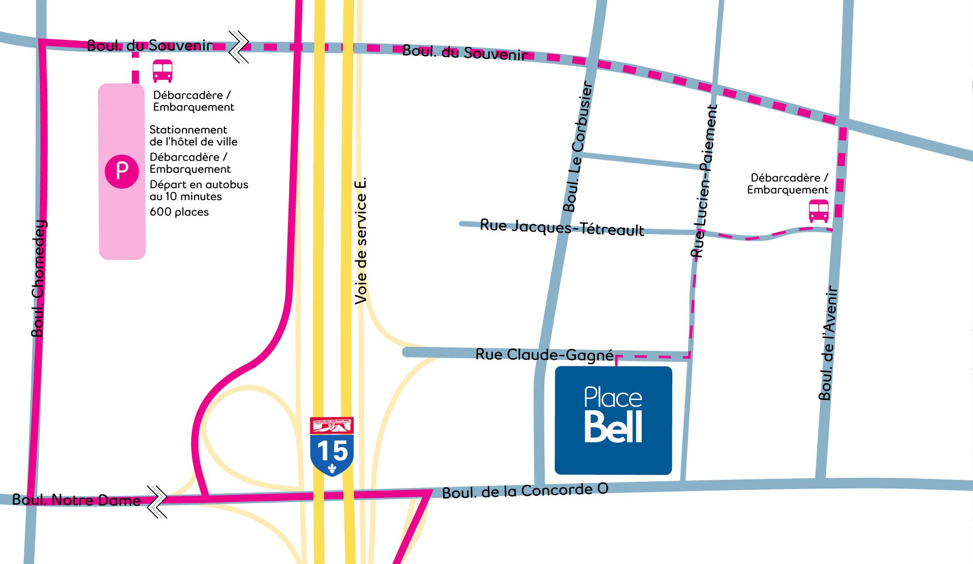 Stationnement incitatif à l'hôtel de ville Map